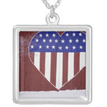 Heart-Shaped Stars and Stripes Silver Plated Necklace