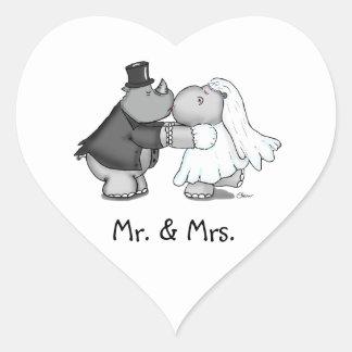 Heart shaped Sticker Hippo Bride and Rhino Groom