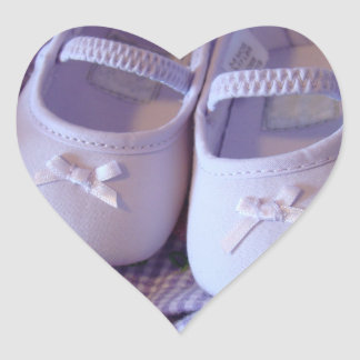 Heart Shaped stickers Lavender Baby Bootie Shoes
