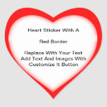 Heart Shaped Stickers With A Red Border In Sheets at Zazzle