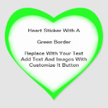 Heart Shaped Stickers With Green Border In Sheets at Zazzle
