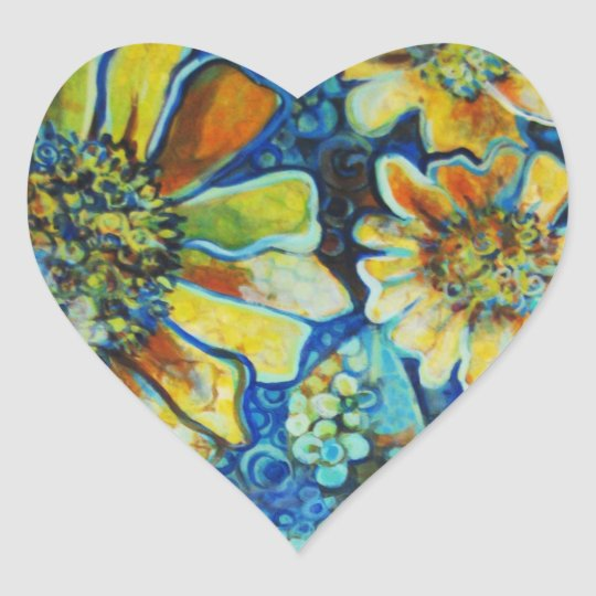 Heart Shaped Stickers with Yellow Sunflowers