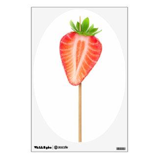 Heart shaped strawberry on a skewer wall sticker
