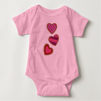 Heart-Shaped Sugar Cookies Valentine's Day Pink Baby Bodysuit