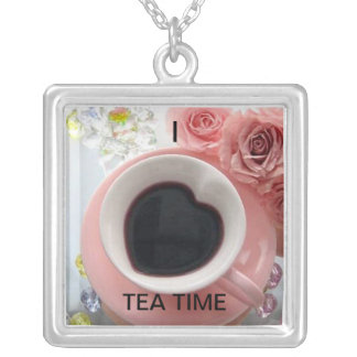 heart-shaped-tea-cup, TEA TIME, I Square Pendant Necklace