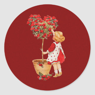 Heart Shaped Topiary Round Stickers