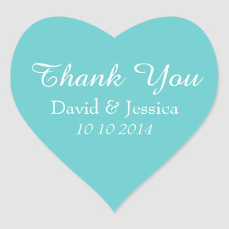 Heart shaped turquoise wedding thank you stickers