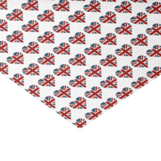"Heart Shaped Union Jack Flag 10"" X 15"" Tissue Paper"