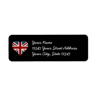 Heart Shaped Union Jack Flag Label
