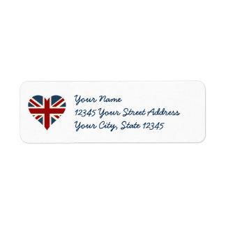 Heart Shaped Union Jack Flag Label