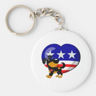 Heart-shaped USA Flag Basic Round Button Keychain