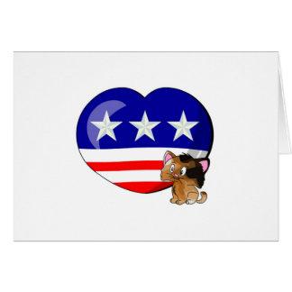 Heart-shaped USA Flag Card