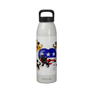 Heart-shaped USA Flag Drinking Bottles