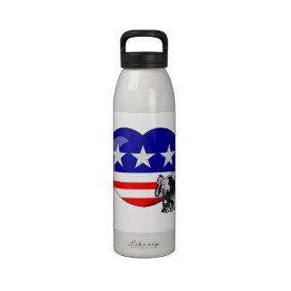 Heart-shaped USA Flag Reusable Water Bottle