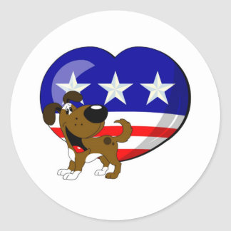 Heart-shaped USA Flag Round Stickers