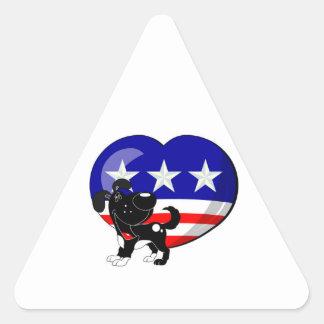 Heart-shaped USA Flag Triangle Sticker