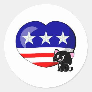 Heart-shaped USA Flag Sticker