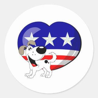 Heart-shaped USA Flag Stickers