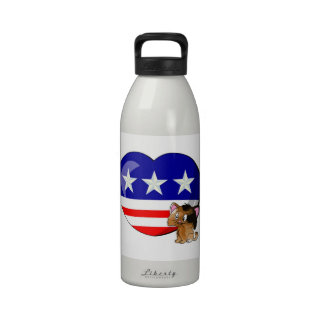 Heart-shaped USA Flag Water Bottle