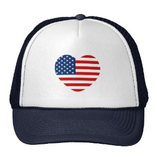 Heart shaped USA US flag Trucker Hat