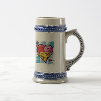 Heart Shaped V Day Ice Cream 18 Oz Beer Stein