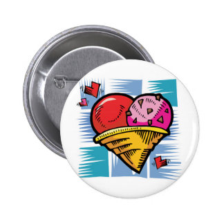 Heart Shaped V Day Ice Cream 2 Inch Round Button