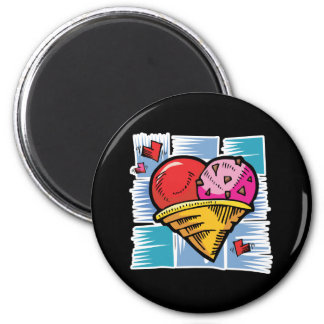Heart Shaped V Day Ice Cream 2 Inch Round Magnet