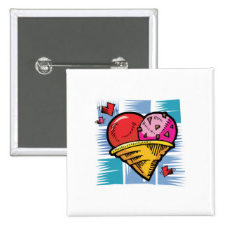 Heart Shaped V Day Ice Cream 2 Inch Square Button