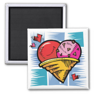 Heart Shaped V Day Ice Cream 2 Inch Square Magnet