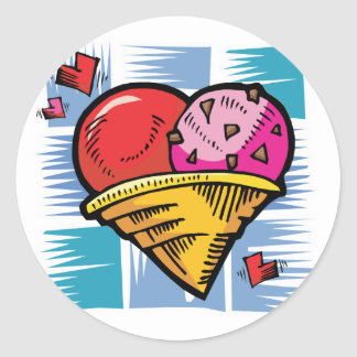 Heart Shaped V Day Ice Cream Classic Round Sticker
