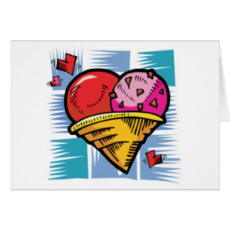 Heart Shaped V Day Ice Cream Greeting Card
