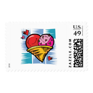 Heart Shaped V Day Ice Cream Postage Stamp