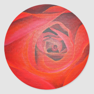 Heart Shaped Valentine Red Rose Classic Round Sticker