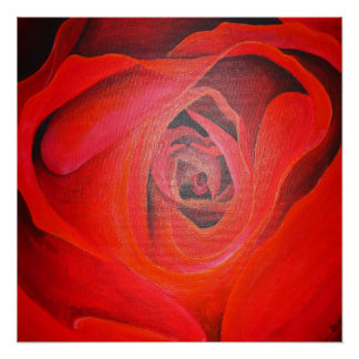 Heart Shaped Valentine Red Rose Poster