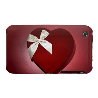 Heart shaped velvet box with ribbon iPhone 3 covers