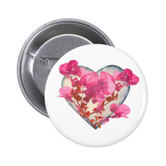 Heart Shaped with Flowers Digital Collage Button