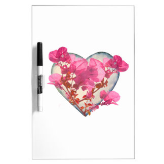 Heart Shaped with Flowers Digital Collage Dry-Erase Board