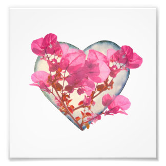 Heart Shaped with Flowers Digital Collage Photo Print