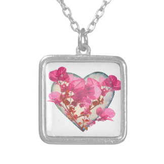 Heart Shaped with Flowers Digital Collage Silver Plated Necklace
