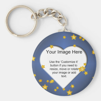 Heart-Shaped with Gold Stars Template Keychain