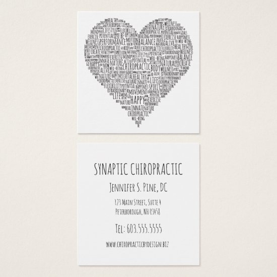 Heart Shaped Word Collage Square Chiropractic Square Business Card