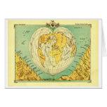 Heart Shaped World Map Blank Notecard Cards