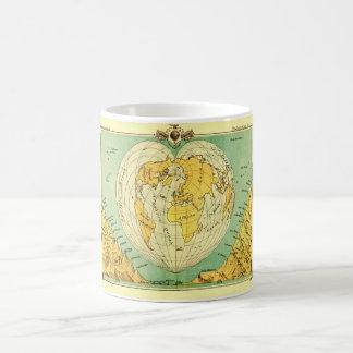Heart Shaped World Map Classic White Coffee Mug