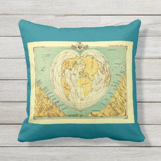 Heart shaped world map pillow