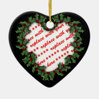 Heart Shaped Wreath Christmas Photo Frame Ceramic Ornament