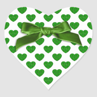 Heart Shapes Filled with Emerald Green  Roses Heart Sticker