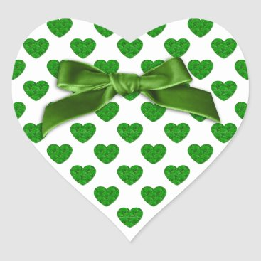 Valentines Themed Heart Shapes Filled with Emerald Green  Roses Heart Sticker