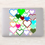 [ Thumbnail: Heart Shapes With Various Sizes and Colors Sticker ]
