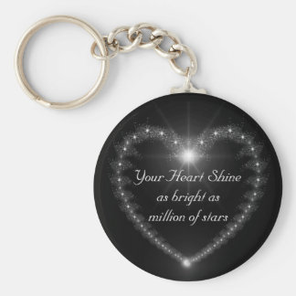 Heart shine as bright as million stars keychain. basic round button keychain
