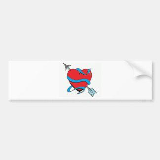 Heart shoots an arrow bumper sticker